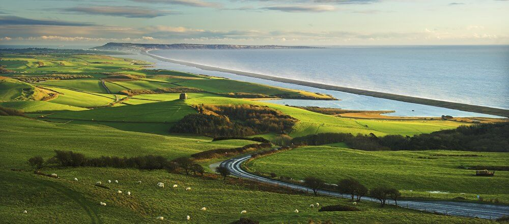 View of Chesil Beach Dorset